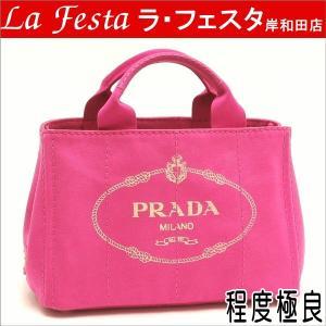 プラダ トートバッグ CANAPA キャンバス FUXIA ピンク BN2439 中古(程度極良)|lafesta-k