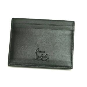 クリスチャン ルブタン  カードケース Kios Simple Card Holder カーフスキン ブラック×ガンメタル 箱付き 3165043 B078 新品|lafesta-k|02