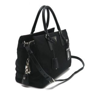 プラダ 2Wayバッグ TESSUTO+SAFFIAN ナイロン×レザー ブラック 保存袋付き BN2300 中古(程度極良)|lafesta-k|02