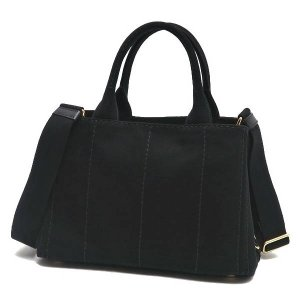 プラダ 2Wayバッグ CANAPA カナパ ストラップ付き キャンバス ブラック 保存袋付き B2439G 中古(程度極良【美品】)|lafesta-k|03
