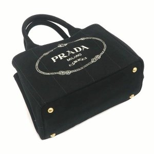 プラダ 2Wayバッグ CANAPA カナパ ストラップ付き キャンバス ブラック 保存袋付き B2439G 中古(程度極良【美品】)|lafesta-k|04