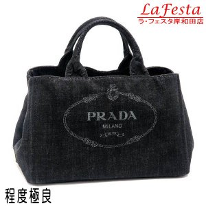プラダ トートバッグ デニム ブラック B2642B 中古(程度極良)|lafesta-k