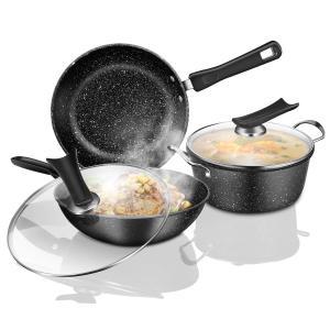 鍋セット フライパン3セット 両手鍋 ガラス鍋蓋付 マーブルコーティングIH ガス オール熱源対応|lafeuille-store
