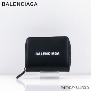 商品説明 シンプルなブラックボディにバレンシアガのホワイトのロゴがアクセントになった二つ折り財布、エ...