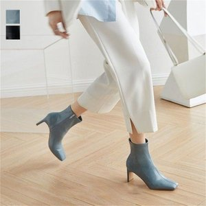 ショートブーツ ブーツ スクエアトゥ サイドジップ ハイヒール きれいめ シンプル  韓国ファッション【k3-jq803】【予約販売:15-20日】【送料無料】宅込|lagemme