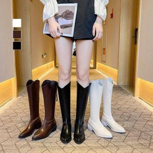 ロングブーツ ブーツ 合皮 ローヒール バックジップ ポインテッドトゥ ジョッキーブーツ  韓国ファッション【k3-wry01】【予約販売:15-20日】【送料無料】宅込|lagemme