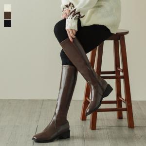 ロングブーツ ブーツ 合皮 ローヒール サイドジップ ラウンドトゥ シンプル  韓国ファッション【k3-wry99】【予約販売:15-20日】【送料無料】宅込|lagemme