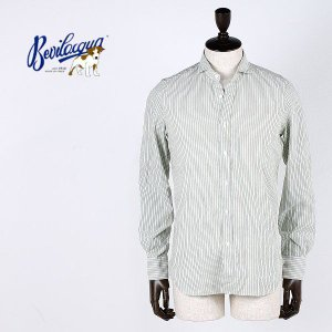 BEVILACQUA ベヴィラクア メンズ ストライプシャツ 102 VERSILIA 06 (グリーン) special priceCM|laglagmarket