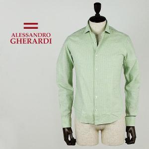 セール 国内正規品  ALESSANDRO GHERARDI アレッサンドロ ゲラルディ オープンカラー コットンシャツ 5031YSC3W6J (グリーン) special priceCM|laglagmarket