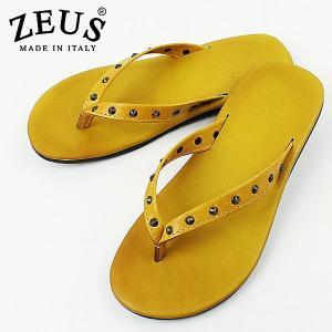 ZEUS ゼウス メンズ スタッズ トングレザーサンダル 1483 GIALLO (イエロー)special priceCM|laglagmarket