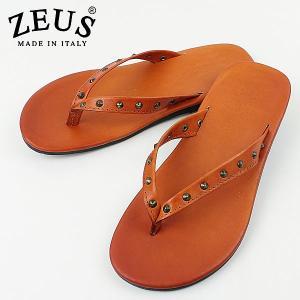 ZEUS ゼウス メンズ スタッズ トングレザーサンダル 1483 ARANCIO (オレンジ)special priceCM|laglagmarket