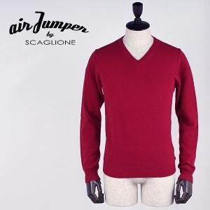 セール 国内正規品 AIR JUMPER BY SCAGLIONE エアジャンパー バイ スカリオーネ メンズ ウール Vネックニット U1W002 610 (レッド)  special priceBM laglagmarket