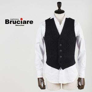 BRUCIARE ブルチアーレ メンズ カセンティーノ ウール ダイヤキルティング 5ボタン ジレ 3311511 (ブラック)  special priceBM|laglagmarket