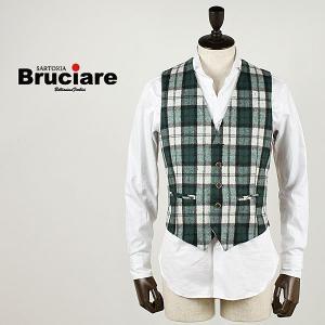 BRUCIARE ブルチアーレ メンズ チェック柄 5ボタン ウールジレ 3310611 (グリーン)special priceBM|laglagmarket