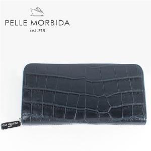 PELLE MORBIDA ペッレモルビダ クロコダイルレザー ラウンドジップ 長財布 PMO-CRS005EC NVY (ネイビー)レビューを書いて送料無料|laglagmarket