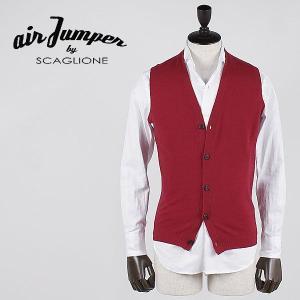 セール 国内正規品 AIR JUMPER BY SCAGLIONE エアジャンパー バイ スカリオーネ メンズ 5B シングル ニットジレ U1W005 415 (レッド)  special priceBM laglagmarket