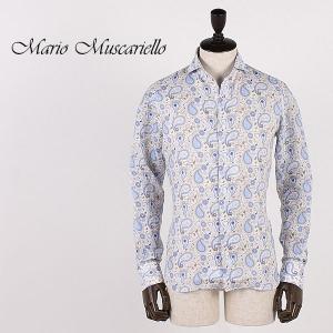 Mario Muscariello マリオムスカリエッロ メンズ 柄プリント リネンシャツ LISCIA NORMAL RAINBOW PRINT (ブラウン)  special priceBM|laglagmarket