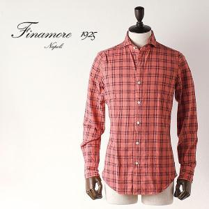 FINAMORE フィナモレ メンズ オーバーチェック コットンフランネルシャツ SIMONE シモーネ TOKYO 012095 (レッド)special priceBM|laglagmarket