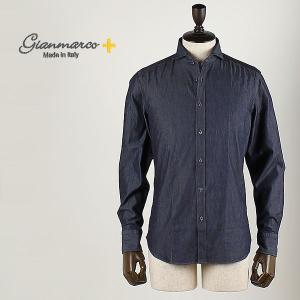 Gianmarco ジャンマルコ メンズ シャンブレーシャツ ANGEL SKY SPORT (ネイビー)special priceBM|laglagmarket