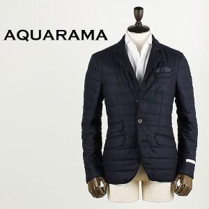 AQUARAMA アクアラマ メンズ 薄中綿入り カシミア 3B シングルジャケット 82644/Q132/800 (ネイビー)|laglagmarket