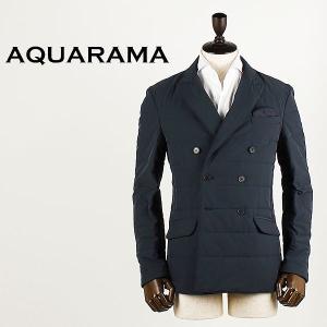 AQUARAMA アクアラマ メンズ 薄中綿入り セミピークドラペル ダブルジャケット 82914/Q115/800 (ネイビー)special priceBM|laglagmarket