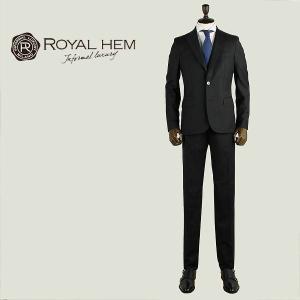ROYAL HEM ロイヤルヘム メンズ バージンウール 2B チョークストライプ シングルスーツ GHESTER AK05-W409 (ブラック)special priceBM|laglagmarket