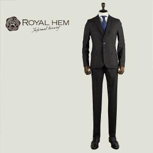 ROYAL HEM ロイヤルヘム メンズ バージンウールシルク混 ネップ 2B シングルスーツ GHESTER AK05-W654 (ブラウン)special priceBM|laglagmarket