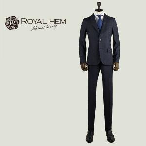 ROYAL HEM ロイヤルヘム メンズ バージンウールシルク混 ネップ 2B シングルスーツ GHESTER AK05-W654 (ネイビー)special priceBM|laglagmarket
