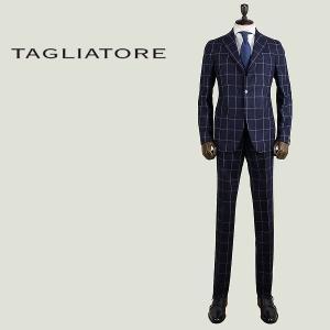 TAGLIATORE タリアトーレ メンズ ウール ウインドーペーン 3B シングル スーツ 2SVS23B01 07WIZ094 B3315 (ネイビー) special priceAM|laglagmarket