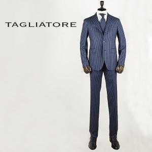 セール 国内正規品 TAGLIATORE タリアトーレ メンズ サキソニーフラノ SUPER120'S  シングルストライプスーツ 2SVS23B01(ネイビー) special priceAM|laglagmarket