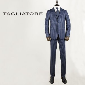 TAGLIATORE タリアトーレ メンズ サキソニーフラノ SUPER120'S 3B シングル チョークストライプスーツ 2SVS23B01(ネイビー) special priceAM|laglagmarket