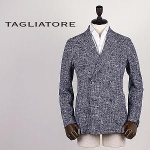 国内正規品 即日発送 TAGLIATORE タリアトーレ メンズ 6B ファンシーツイード ダブルブレスト ジャケット 1SMC20K D6UEG002 B1137(ネイビー×ホワイト)|laglagmarket
