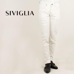 国内正規品 即日発送 SIVIGLIA シヴィリア/シビリア メンズ 5ポケット ストレッチ クラッシュ加工 ホワイトデニム 22W3/S004/1103/9 (ホワイト)|laglagmarket