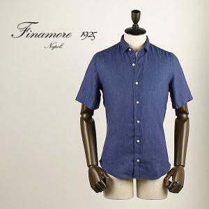 セール 国内正規品 FINAMORE フィナモレ メンズ スモールカラー リネン ショートスリーブシャツ SILVANO GIGLIO 043949 (インディゴ)special priceAM|laglagmarket