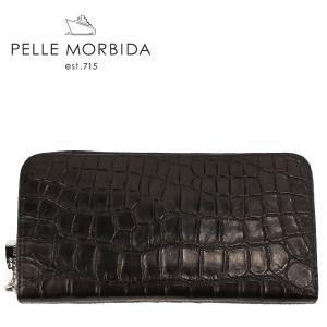 PELLE MORBIDA ペッレモルビダ クロコダイルレザー ラウンドジップ 長財布 PMO-CRS005EC (ブラック)レビューを書いて送料無料|laglagmarket
