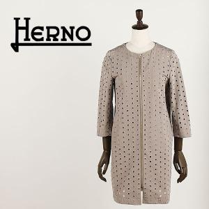 セール 国内正規品 HERNO ヘルノ レディース パンチングレース コットン ノーカラースプリングコート CA0084D 206PZP 2900 (ベージュ)special priceAL|laglagmarket