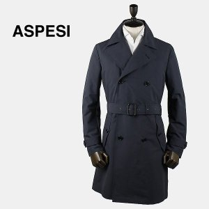 ASPESI アスペジ メンズ ポリエステル トレンチコート 1661/G504/01 100 (ネイビー)special priceAM|laglagmarket