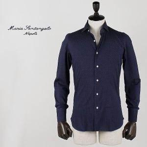 MARIA SANTANGELO マリアサンタンジェロ メンズ ドット柄 インディゴ染め コットンシャツ 2.0 ENZO MARCO FA302128-390 CC (インディゴ)special priceAM|laglagmarket