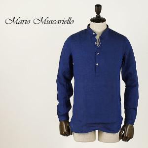Mario Muscariello マリオムスカリエッロ メンズ リネン プルオーバー バンドカラーシャツ ISCHIA WASHED LONG SLEEVE SNB2145 (ネイビー)special priceAM|laglagmarket