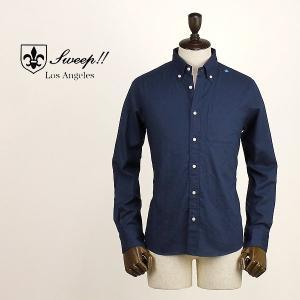 SWEEP!! スウィープ!! メンズ コットン リネン ボタンダウンシャツ Cotton Linen (ネイビー)レビューを書いて送料無料|laglagmarket