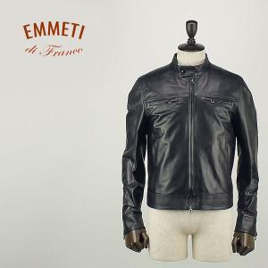 国内正規品 即日発送 EMMETI エンメティ メンズ ナッパレザー シングルライダースジャケット SAMUELE (ブラック)|laglagmarket