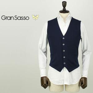 GRANSASSO グランサッソ メンズ コットンニット シングルジレ 57196/18196 598 (ネイビー)special priceAM|laglagmarket