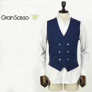 GRANSASSO グランサッソ メンズ コットンニット 6B ダブルジレ 57151/18196 598 (ネイビー)special priceAM|laglagmarket