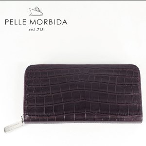 PELLE MORBIDA ペッレモルビダ クロコダイルレザー ラウンドジップ 長財布 PMO-CRS005EC BOR (ワイン)レビューを書いて送料無料|laglagmarket