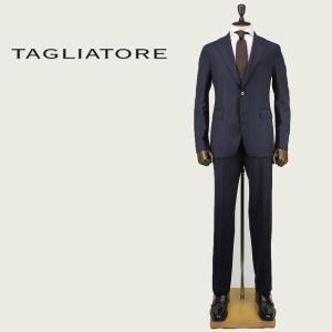 2017-18年秋冬新作 国内正規品 TAGLIATORE タリアトーレ メンズ  ヴァージンウール 2B ストライプ柄 シングルスーツ 2SVJ22B01 06RIA202 B3294(ネイビー)|laglagmarket