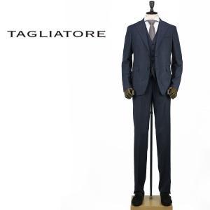 2017-18年秋冬新作 国内正規品 TAGLIATORE タリアトーレ メンズ SUPER110'S ウール 2B 3ピース シングルスーツ 3SVJ22B01 06UIA194 I1068 (ネイビー)|laglagmarket
