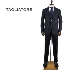 2017-18年秋冬新作 国内正規品 TAGLIATORE タリアトーレ メンズ ウール 2B ストライプ柄 シングルスーツ 2SVJ22B01 03UIZ046 I1332(ブラック×ネイビー)|laglagmarket