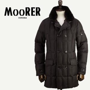 2017-18年秋冬新作 国内正規品 MOORER ムーレー メンズ ウールカシミア ラビットファー付き ダブル セミロングダウンジャケット MORRIS L BROWN (ブラウン) laglagmarket