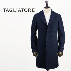 2017-18年秋冬新作 国内正規品 TAGLIATORE タリアトーレ メンズ ウールシルク 3B フライフロント ポロコート THOMAS 07FIC166 B1144 (ネイビー×ブルー)|laglagmarket