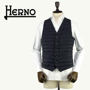 2018年春夏新作 国内正規品 HERNO ヘルノ メンズ 撥水ナイロン 中綿入り シングルジレ HERNO IN TECH ALTERNATIVE DOWN PC0039U 19288/O 9300 (ブラック)|laglagmarket